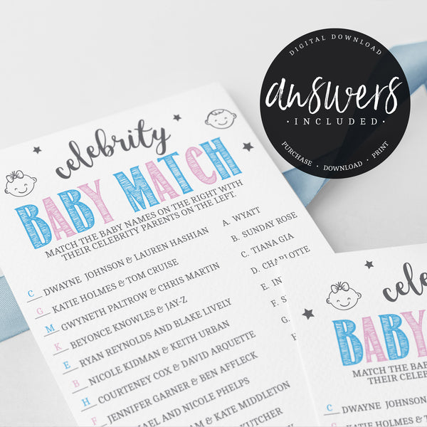 Pink and Blue Celebrity Babies Game Template - Hello Baby Paperie