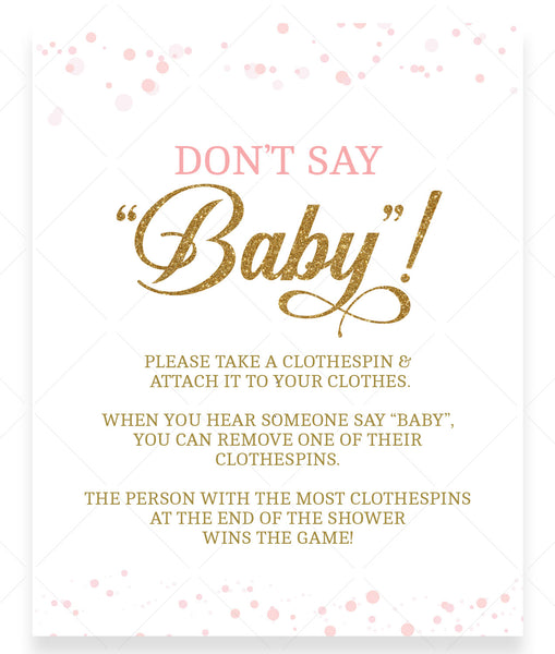 Pink Polka Don't Say Baby Game Sign