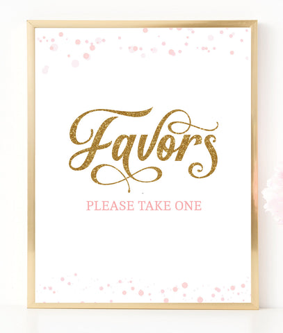 Pink Polka Favors Sign - Hello Baby Paperie