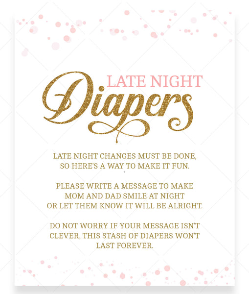 Pink Polka Late Night Diapers Sign