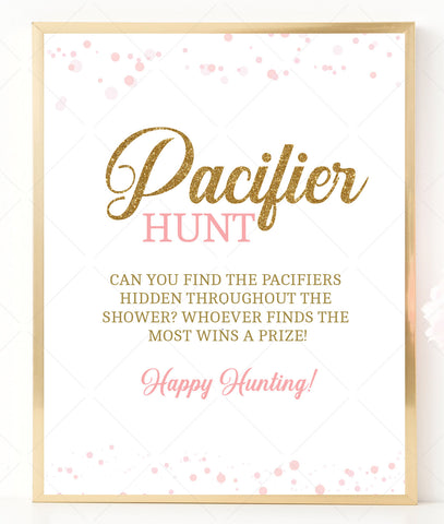 Pink Polka Pacifier Hunt Game Sign