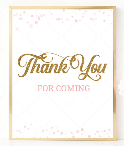 Pink Polka Baby Shower Thank You Sign