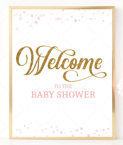 Pink Polka Baby Shower Welcome Sign