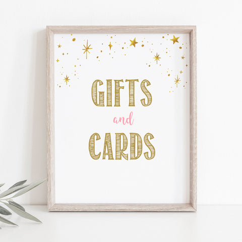Pink and Gold Stars Gifts and Cards Table Sign