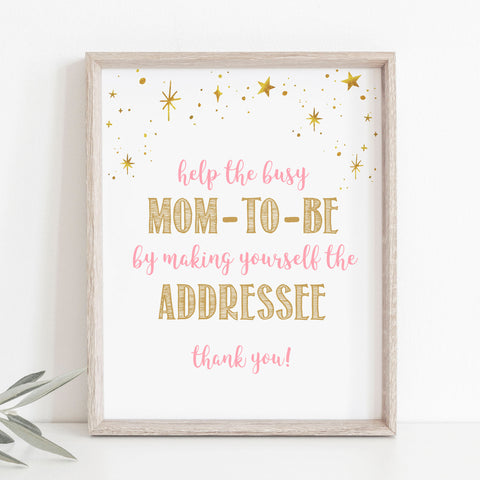 Pink and Gold Stars Address an Envelope Sign