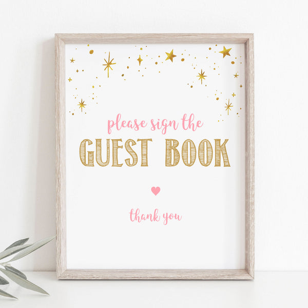 Pink and Gold Stars Guest Book Sign