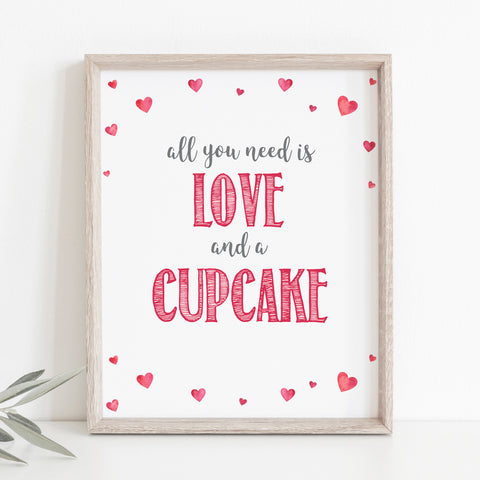 Pink Hearts Love & a Cupcake Sign
