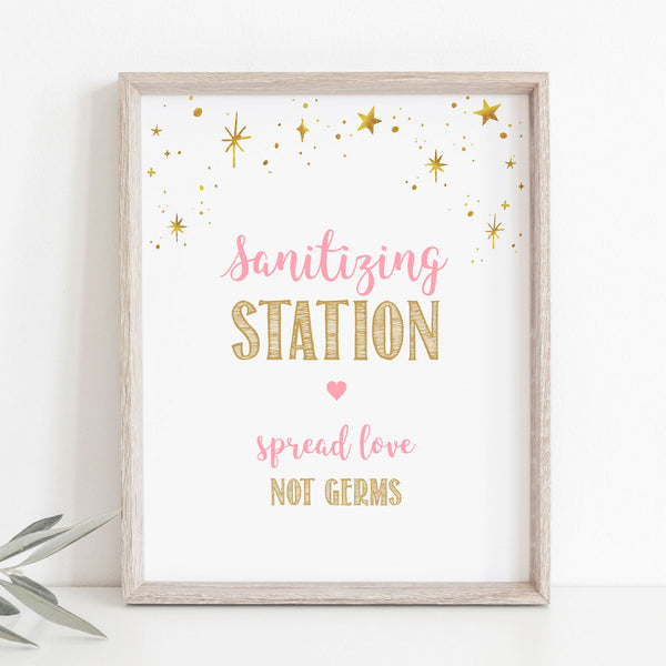 Pink and Gold Stars Sanitizing Station Sign