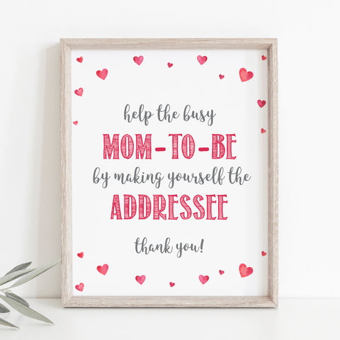 Pink Hearts Address an Envelope Sign - Hello Baby Paperie