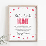 Pink Hearts Baby Sock Hunt Printable Sign - Hello Baby Paperie