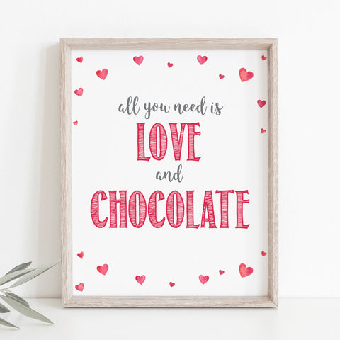Pink Hearts Love & Chocolate Sign - Hello Baby Paperie