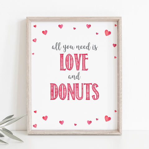 Pink Hearts Love & Donuts Sign - Hello Baby Paperie