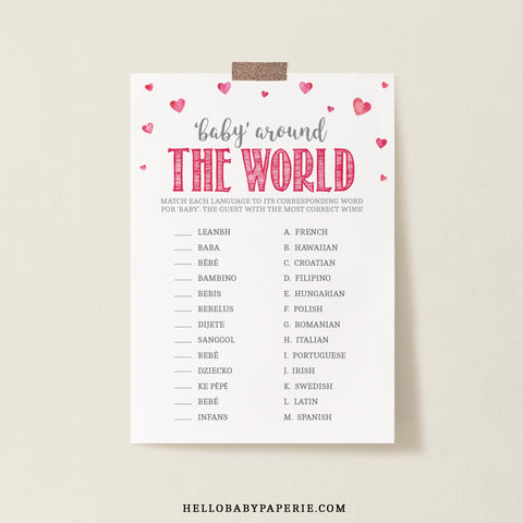 Pink Hearts Baby Around the World Game Template - Hello Baby Paperie