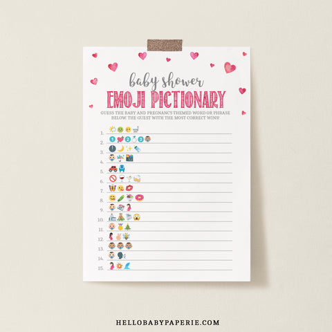 Pink Hearts Baby Shower Emoji Game Template - Hello Baby Paperie