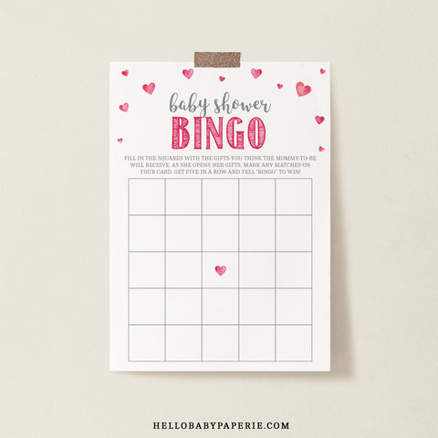 Pink Hearts Bingo Game Template - Hello Baby Paperie