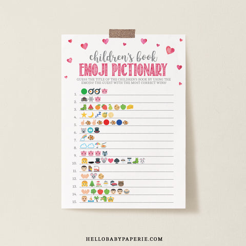 Pink Hearts Children's Book Emoji Game Template - Hello Baby Paperie