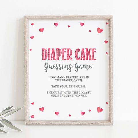 Pink Hearts Diaper Cake Guessing Game Sign - Hello Baby Paperie