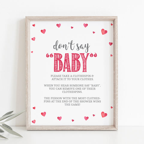 Pink Hearts Don't Say Baby Game Sign - Hello Baby Paperie