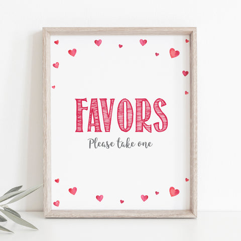 Pink Hearts Favors Sign