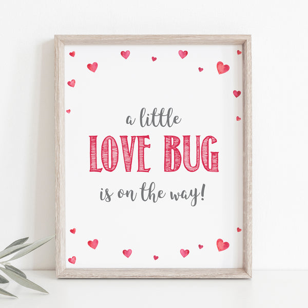 Pink Hearts Little Love Bug is on the Way Sign