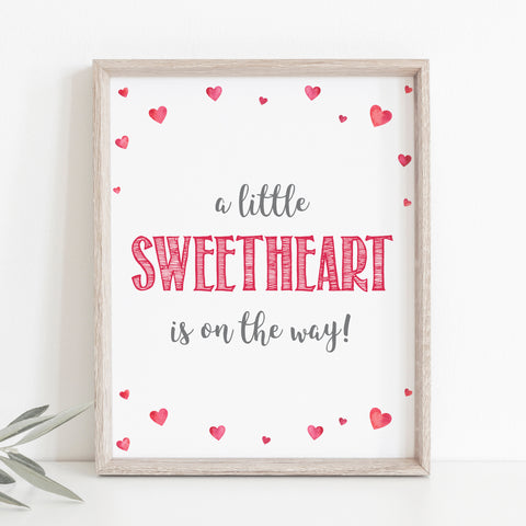 Pink Hearts Little Sweetheart is on the Way Sign