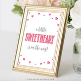 Pink Hearts Little Sweetheart is on the Way Sign - Hello Baby Paperie