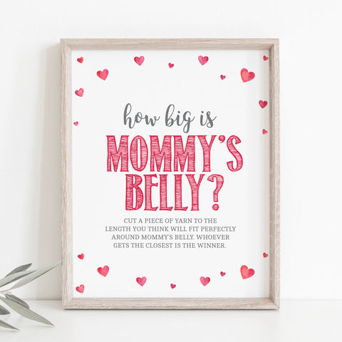 Pink Hearts How Big is Mommy's Belly Game Sign - Hello Baby Paperie