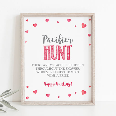Pink Hearts Baby Pacifier Hunt Printable Sign