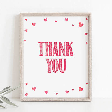 Pink Hearts Baby Shower Thank You Sign