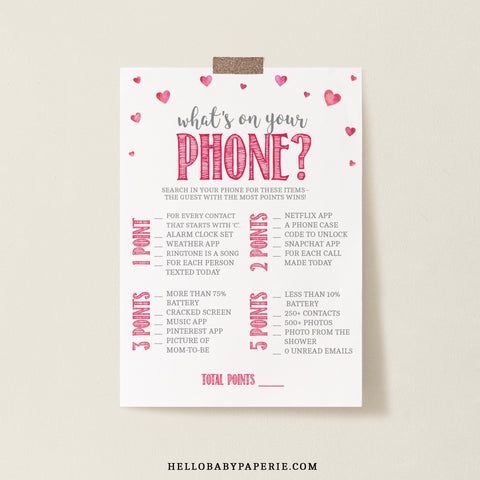 Pink Hearts What's on Your Phone Game Template - Hello Baby Paperie