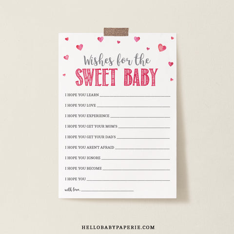 Pink Hearts Wishes for Baby Card Template - Hello Baby Paperie
