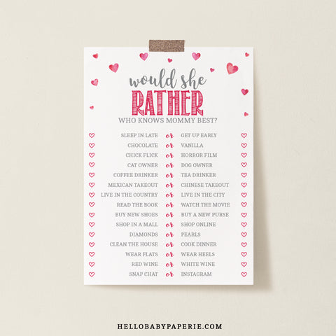 Pink Hearts Would She Rather Game Template - Hello Baby Paperie
