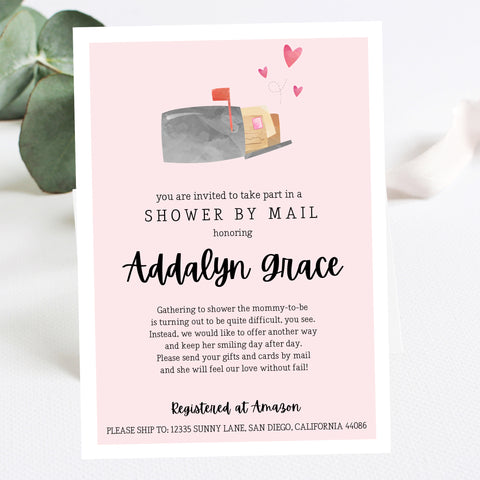 Pink Shower By Mail Mailbox Invitation