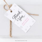 Pink Snowflake Thank You Tags