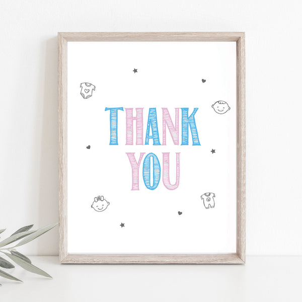 Pink and Blue Thank You Sign