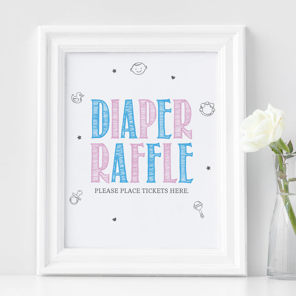 Pink and Blue Diaper Raffle Sign - Hello Baby Paperie