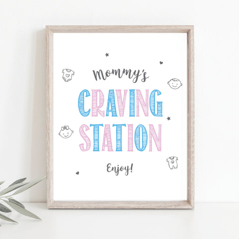 Pink and Blue Mommy's Craving Station Sign