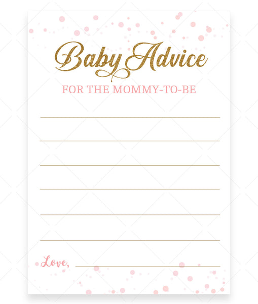 Pink Polka Advice for Mommy Card Template