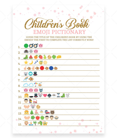 Pink Polka Children's Book Emoji Game Template - Hello Baby Paperie