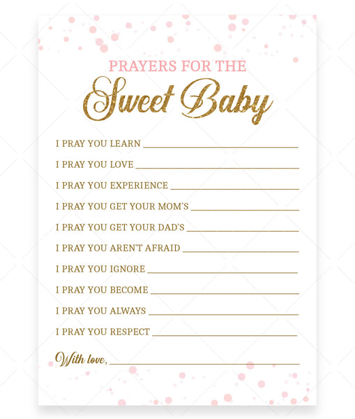 Pink Polka Prayers for Baby Card Template