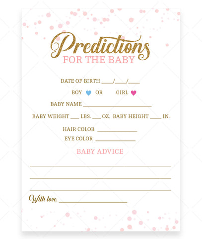 Pink Polka Predictions for the Baby Card Template