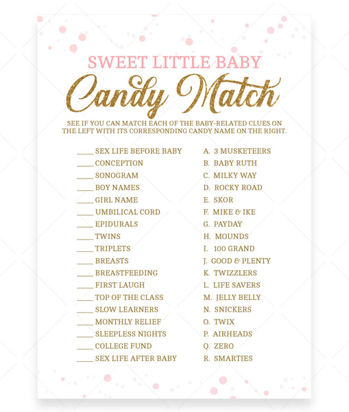 Pink Polka Sweet Little Baby Game Template - Hello Baby Paperie