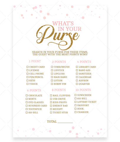 Pink Polka What's In Your Purse Game Template
