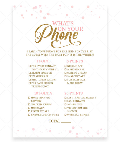 Pink Polka What's On Your Phone Game Template