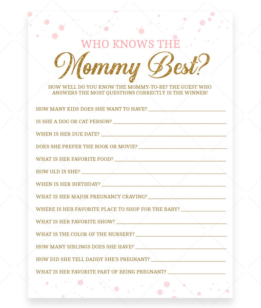Pink Polka Who Knows Mommy Best Game Template - Hello Baby Paperie