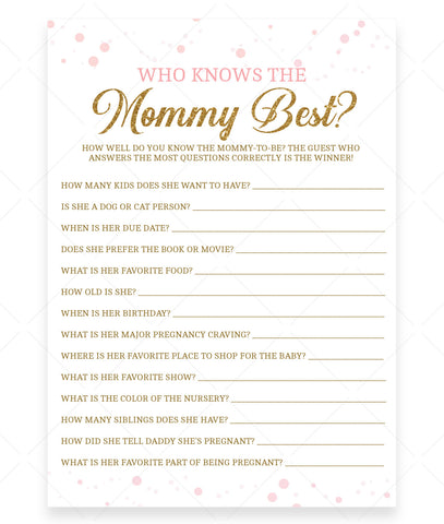 Pink Polka Who Knows Mommy Best Game Template