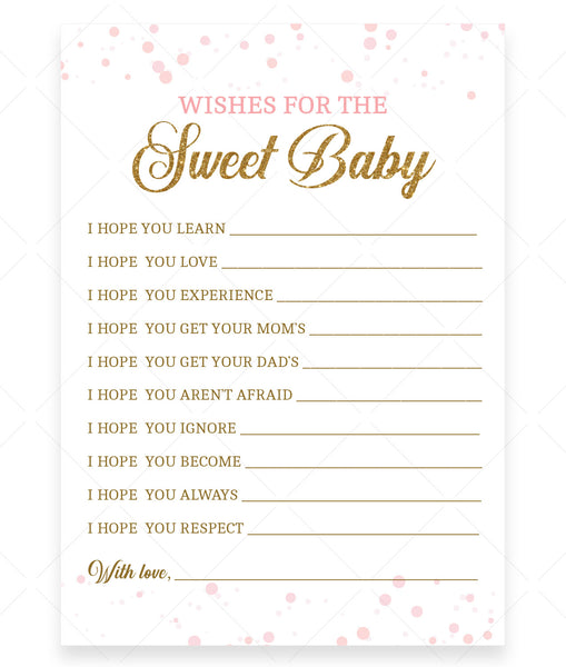 Pink Polka Wishes for Baby Card Template