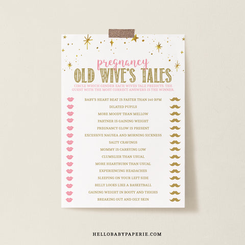 Pink and Gold Stars Old Wive's Tales Game Template - Hello Baby Paperie