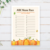 Pumpkin ABC Baby Name Race