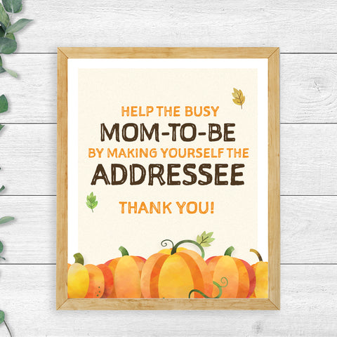 Pumpkin Address an Envelope Sign